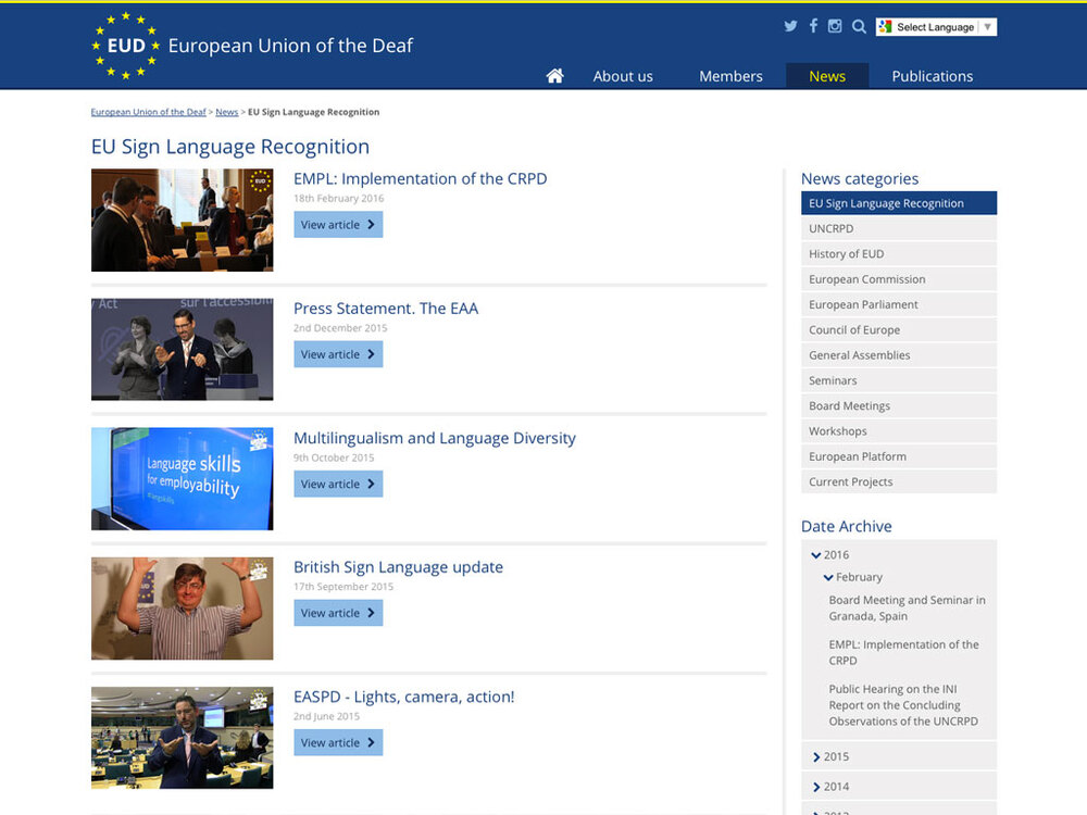 European Union of the Deaf - Screengrab 2